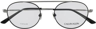 Calvin Klein Logo Round Frame Glasses