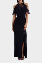 Lipsy Navy Lace Cold Shoulder Maxi