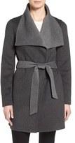 T Tahari Women's Tahari 'Ella' Belted Two-Tone Double Face Wool Blend Wrap Coat