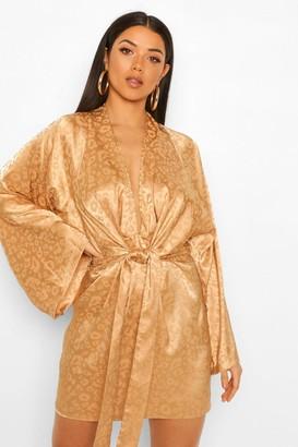 boohoo Leopard Jaquard Satin Kimono Shift Dress