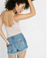 Express low-rise embroidered broken heart cutoff shorts