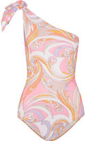 Emilio Pucci One-shoulder Printed Swimsuit - Pastel pink
