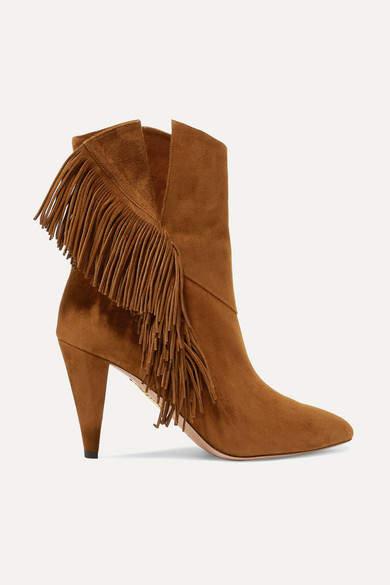 Aquazzura Wild Fringe 85 Suede Ankle Boots - Brown