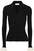 Esteban Cortazar Ribbed Stretch-knit Sweater - Black