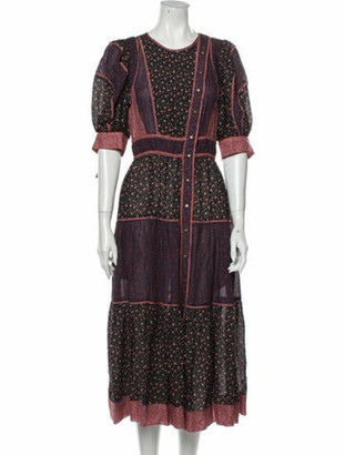Ulla Johnson Printed Midi Length Dress w/ Tags Purple