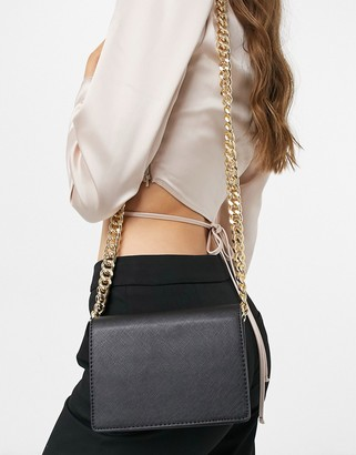 Truffle Collection across body bag with chunky chain strap in black