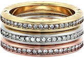 Michael Kors Tri-Tone and Pave Logo Grommet Stack Ring Set Ring