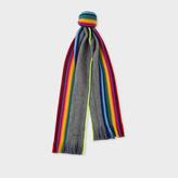 Men's Light Grey Rainbow-Edge Merino Wool Scarf