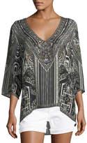 Camilla V-Neck Embellished Oversized Blouse