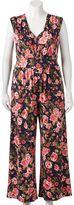 Wrapper Juniors' Plus Size Wide Leg Floral Print Jumpsuit