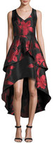 Shoshanna Sleeveless Tiered Floral Jacquard High-Low Dress, Black/Red