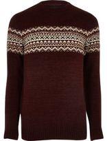 River Island Mens Burgundy fairisle knit jumper