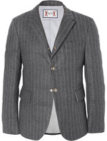 Moncler Gamme Bleu Slim-Fit Quilted Pinstriped Wool Down Jacket