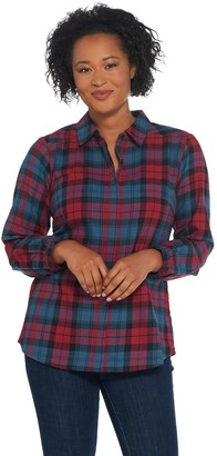 Joan Rivers Classics Collection Joan Rivers Perfect Plaid Shirt with Long Sleeves