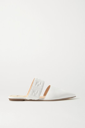 Fendi Logo-embossed Leather Slippers - White