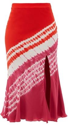 Altuzarra Sachiko Front-slit Shibori-dyed Silk Midi Skirt - Burgundy Print
