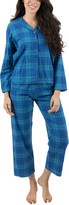 Leveret Women's Sleep Bottoms - Blue & Navy Plaid Flannel Pajama Set - Women