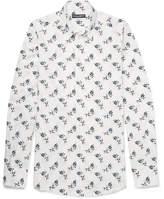 Dolce & Gabbana Slim-fit Floral-print Cotton-poplin Shirt - White