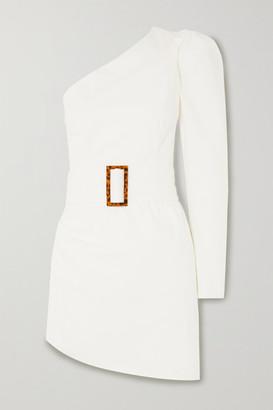 De La Vali One-sleeve Belted Asymmetric Stretch-cotton Poplin Mini Dress - White