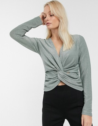 Only Becca knot front long sleeve top-Grey