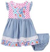 Iris & Ivy Flutter Sleeve Pint Knit Dress & Bloomer Set (Baby Girls)