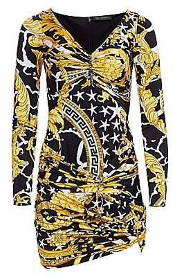 48a5d697ab8 Versace Women's Jersey Savage Baroque Ruched Mini Dress