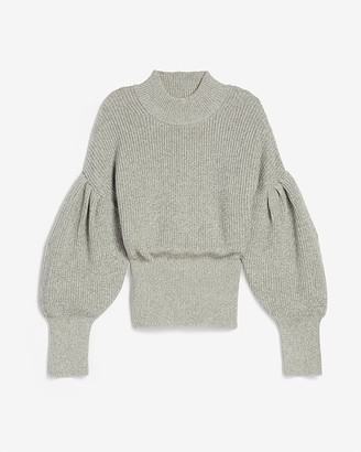 Express Ribbed Mock Neck Balloon Sleeve Sweater