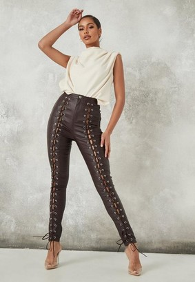 Missguided Brown Coated Lace Up Jeans