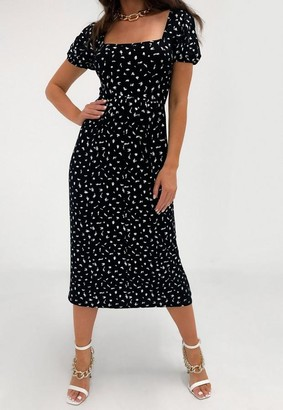 Missguided Print Tie Back Midi Smock Dress