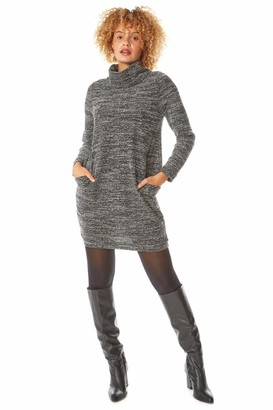 Roman Originals Women Long Sleeve Textured Cowl Neck Tunic Dress - Ladies Casual Day Evening Relaxed Fit Floaty Work Office Slouch Cocoon Smart Relaxed Loose Baggy Fit Tunic - Grey - Size 10