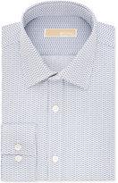 MICHAEL Michael Kors Men's Slim-Fit Non-Iron Cotton Blue Print Dress Shirt