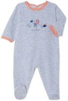 Petit Bateau Baby boys velour sleepsuit with silkscreen print