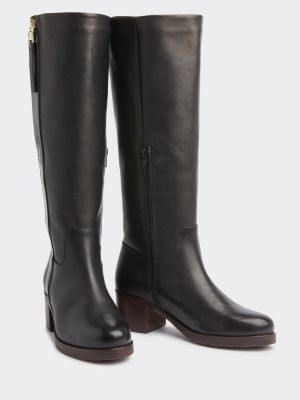 Tommy Hilfiger Long Leather Block Heel Boots