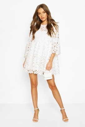 boohoo Heavy Lace Flare Sleeve Smock Dress