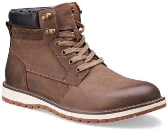Members Only Plain Toe Leather Lug Sole Boot