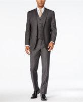 MICHAEL Michael Kors Men's Classic-Fit Charcoal Windowpane Plaid Vested Suit