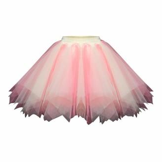 Aogoto Womens Girls Tutu Skirt Ladies Candy Color Ballet Skirt Adult Fashion Multicolour Mesh Tulle Princess Elastic Short Prom Underskirt