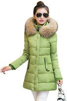 QIYUN.Z Women Winter Solid Color Cotton Long Overcoat Fur Collar Plus Size Outwear
