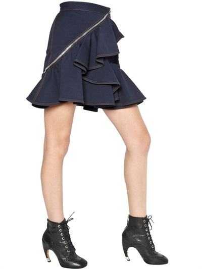 Givenchy Ruffled Cotton Drill Skirt
