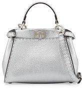 Fendi Peekaboo Mini Satchel Bag, Silver