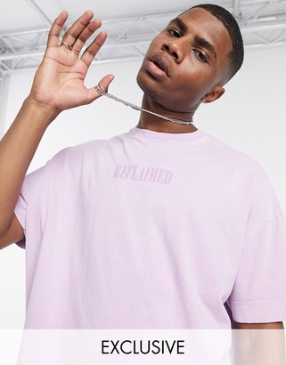 Reclaimed Vintage inspired t-shirt with embroidered logo in pink