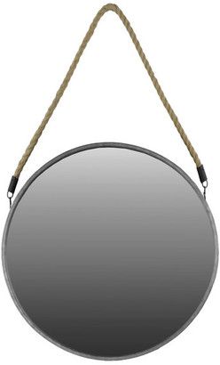 """Urban Trends Collection Round Metal Mirror With Rope, Metallic Silver, Large, 22.00"""""""