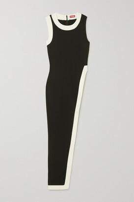 STAUD Asymmetric Two-tone Jersey Top - Black