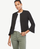 Ann Taylor Tall Textured Tweed Fluted Sleeve Jacket