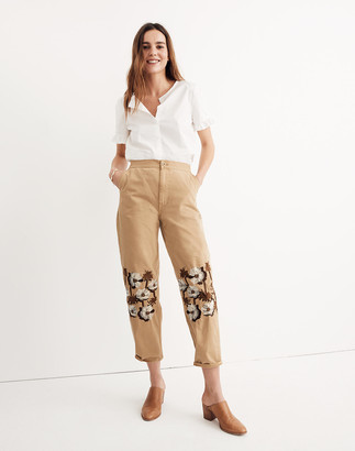 Madewell Embroidered Tapered Wide-Leg Pants