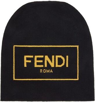Fendi Logo-Intarsia Wool Beanie Hat