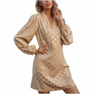 Wenhao Women's Polka Dot Printing Dress Sexy V-Neck Long Sleeve Dress Clearance Best Gifts Dressing Clothes for Home School Office Wedding Party Khaki