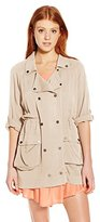 Miss Me Women's Quarter Sleeve Embroidered Trench