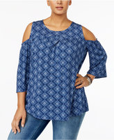 Style&Co. Style & Co Printed Cold-Shoulder Top, Created for Macy's