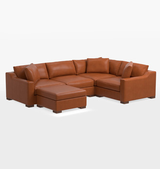 Rejuvenation Sublimity Luxe 5-Piece Leather Sectional Sofa with Ottoman